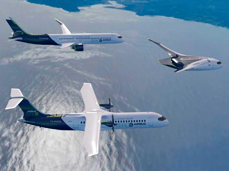 Airbus presenta tres aviones conceptuales impulsados por hidrógeno