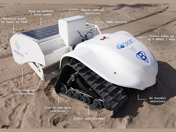 BeBot, el robot que limpia de plásticos la playa